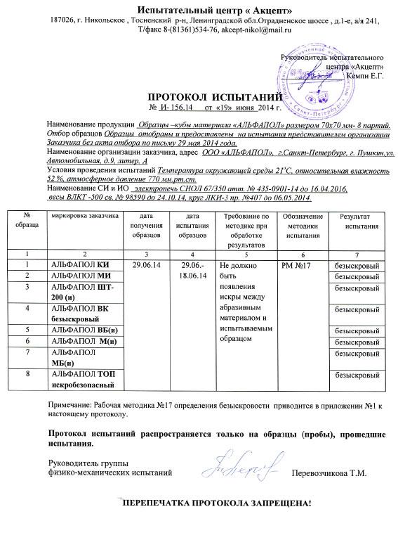 ПРОТОКОЛ ИСПЫТАНИЙ НА БЕЗЫСКРОВОСТЬ N И-156.14 ОТ 19.06.2014