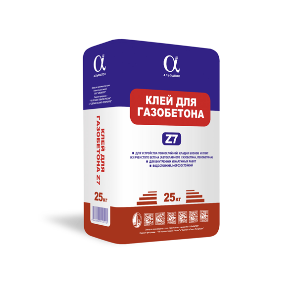 Клей монтажный для газобетона Z7 в упаковке 25 кг