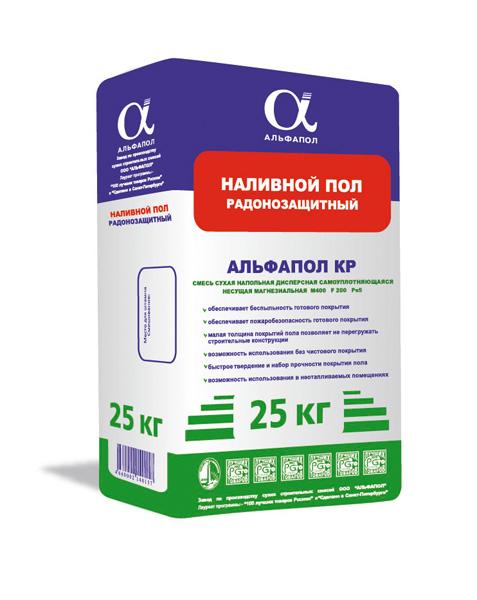 Ровнитель радонозащитный самовыравнивающийся долговечный АЛЬФАПОЛ КР в упаковке 25 кг