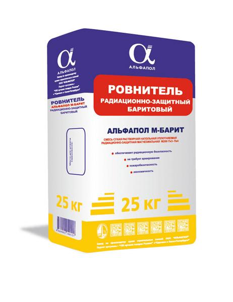 Баритовая напольная смесь АЛЬФАПОЛ М-БАРИТ в упаковке 25 кг